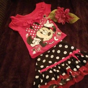 Girls 2t minnie mouse 2pcs outfit